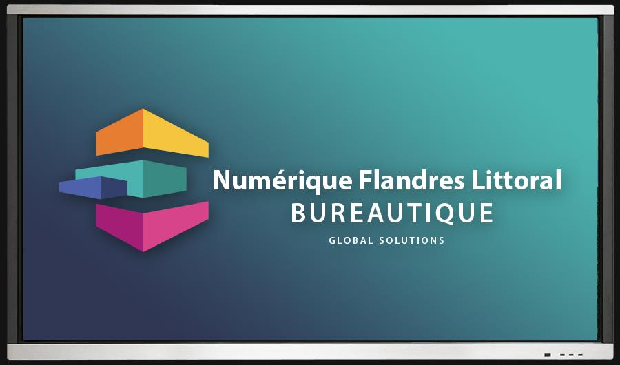 écran IJKOA avec logo Numérique Flandres Littoral Bureautique - Global solutions