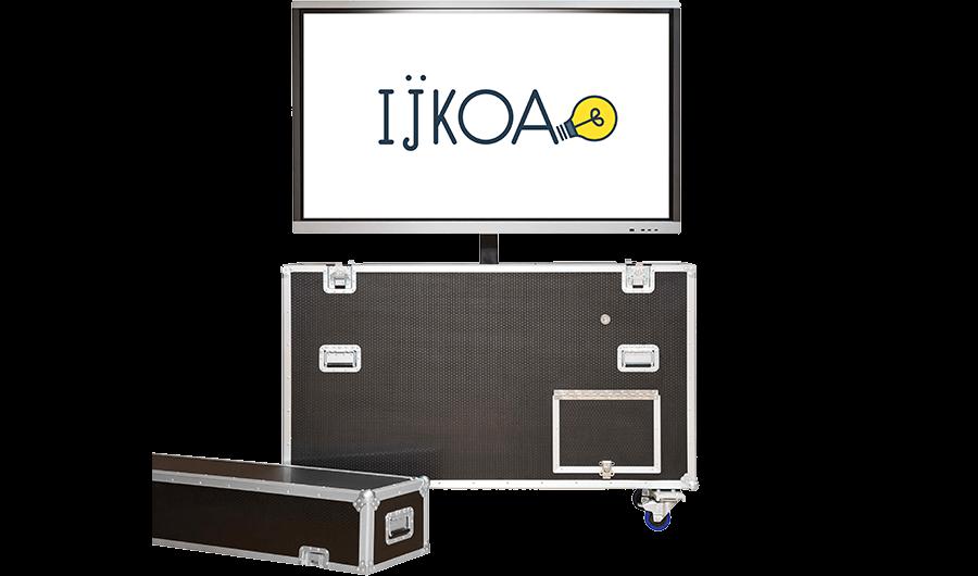 écran tactile interactif plat à LED et sa boîte de transport